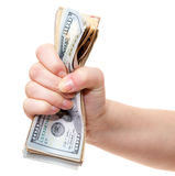 Hand holding pile of us dollar notes Royalty Free Stock Photography