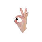 Hand holding a pill. Vector Illustration. Medicine  illustration in modern cartoon style Stock Photography