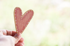 Hand holding pink wooden heart royalty free stock images