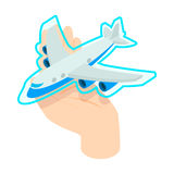 Hand holding the plane icon, isometric 3d style Stock Photography