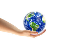 Hand holding planet Earth royalty free stock image