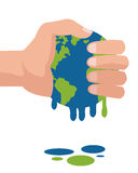 hand holding planet earth melting icon Royalty Free Stock Photo