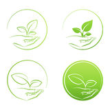 Hand holding plant, logo growth concept vector set Royalty Free Stock Images