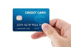 Hand holding plastic credit card Royalty Free Stock Photography