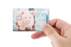 Hand holding plastic credit card Stock Photography