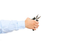 Hand holding pliers Royalty Free Stock Photography