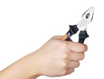 Hand Holding Pliers Stock Photography