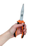 Hand holding pliers Stock Photo