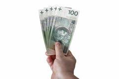 Hand holding polish zloty bills isolated on white Stock Images