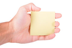 Hand Holding Post It Stock Photo