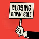 Hand Holding Poster, Business Concept With Text Closing Down Sal Stock Images