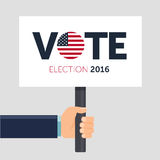 Hand holding poster. Vote. Presidential election 2016 in USA. Flat  illustration. Royalty Free Stock Images