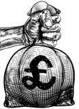 Hand Holding a Pound Sign Burlap Sack Money Bag Stock Images