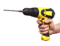 Hand holding power drill Royalty Free Stock Photo