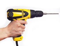 Hand holding power drill Royalty Free Stock Photos