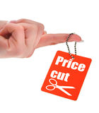Hand holding price tag royalty free stock photo