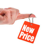 Hand holding price tag Royalty Free Stock Image