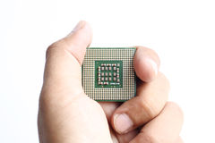 Hand holding processor Royalty Free Stock Images