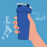 Hand holding protein shaker with sketch fitness icons, vector illustration Stock Photos