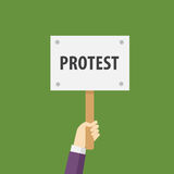 Hand Holding Protest Sign Flat Illustration. Protest or demonstration. People holding placard with protest sign Stock Image