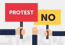 Hand holding protest sign flat illustration. Protest or demonstration. Political rally concept. Flat design. Vector Stock Images