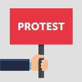 Hand holding protest sign flat illustration. Protest or demonstration. Political rally concept. Flat design. Vector Royalty Free Stock Photo