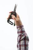 Hand holding pruning shears Royalty Free Stock Photos