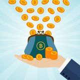 Hand holding a purse with bitcoins. Vector illustration Stock Images