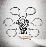 Hand holding question mark Royalty Free Stock Images