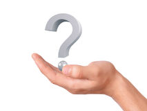 Hand holding question mark on a white background Stock Photos