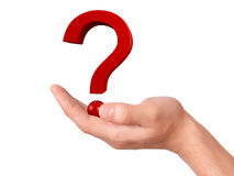 Hand holding question mark on a white background Stock Images