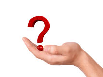 Hand holding question mark on a white background Royalty Free Stock Photos