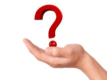 Hand holding question mark on a white background Royalty Free Stock Photography