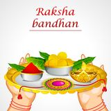Hand holding Raksha Bandhan Thali Royalty Free Stock Photos
