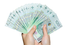 Hand holding range of polish 100 pln banknotes Stock Photos