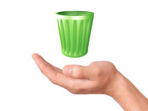 Hand holding recycle bin on white background Royalty Free Stock Photo