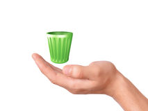 Hand holding recycle bin on white background Stock Photo