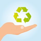 Hand holding recycle sign Royalty Free Stock Image