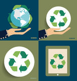Hand holding Recycle symbol. Vector symbol on the packaging, vec. Tor Illustration Stock Photos