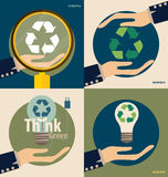 Hand holding Recycle symbol. Vector symbol on the packaging, vec. Tor Illustration Royalty Free Stock Image