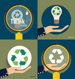 Hand holding Recycle symbol. Vector symbol on the packaging, vec. Tor Illustration Royalty Free Stock Images