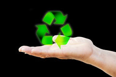 Hand holding recycling symbol Royalty Free Stock Image