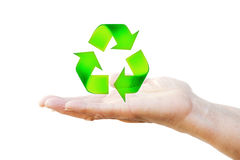 Hand holding recycling symbol Royalty Free Stock Photo