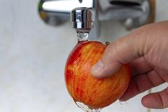 A hand is holding a red apple under the tap. Wash the apple royalty free stock photo