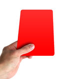 Hand holding a red card. Isolated on white stock photos