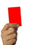 Red card with clipping path. Hand holding a red card isolated on white background Royalty Free Stock Photography