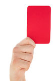 Hand holding red card up Royalty Free Stock Images