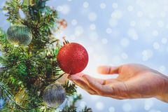 Hand holding red Christmas balls on Christmas tree for decorating in Holiday, with Blur Bokeh lights background. S Stock Photo
