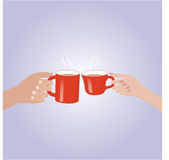 Hand holding a red cup coffee. Royalty Free Stock Images