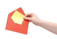 Hand holding red envelope Stock Photography